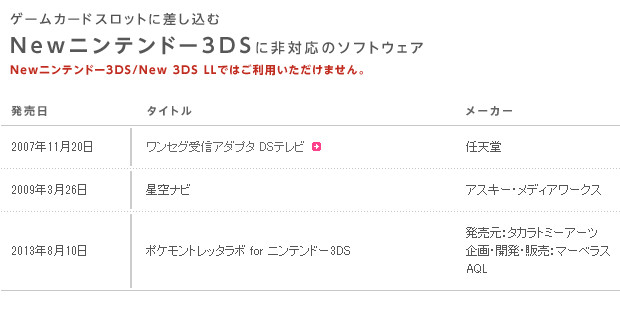 新3ds不兼容旧机游戏列表
