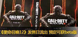 《使命召唤12黑色行动3》发售日流出 预定可获beta版