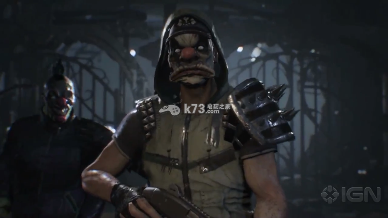 ▲带着小丑面具的敌人-蝙蝠侠阿甘骑士 蝙蝠女DLC前15分钟演示视频