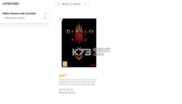 Coolshop上架《暗黑3》Switch版!售价425元!