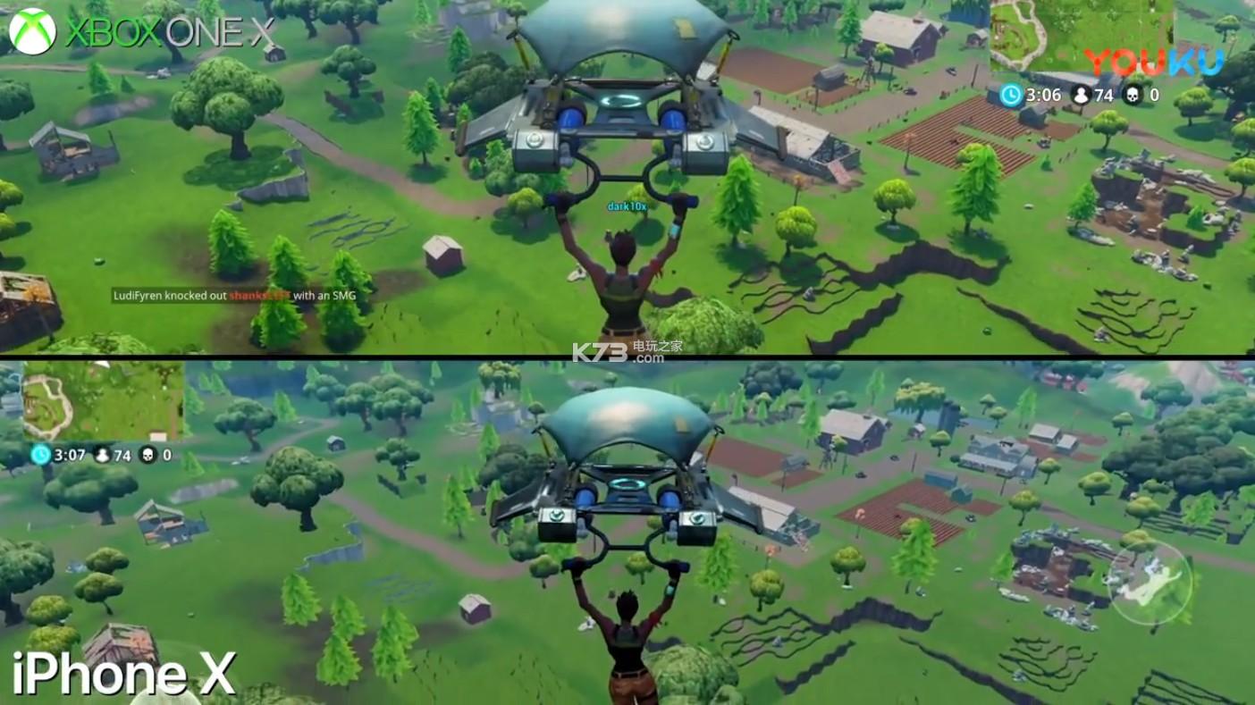 《堡垒之夜Fortnite》iPhoneX vs Xbox One X画质对比视频