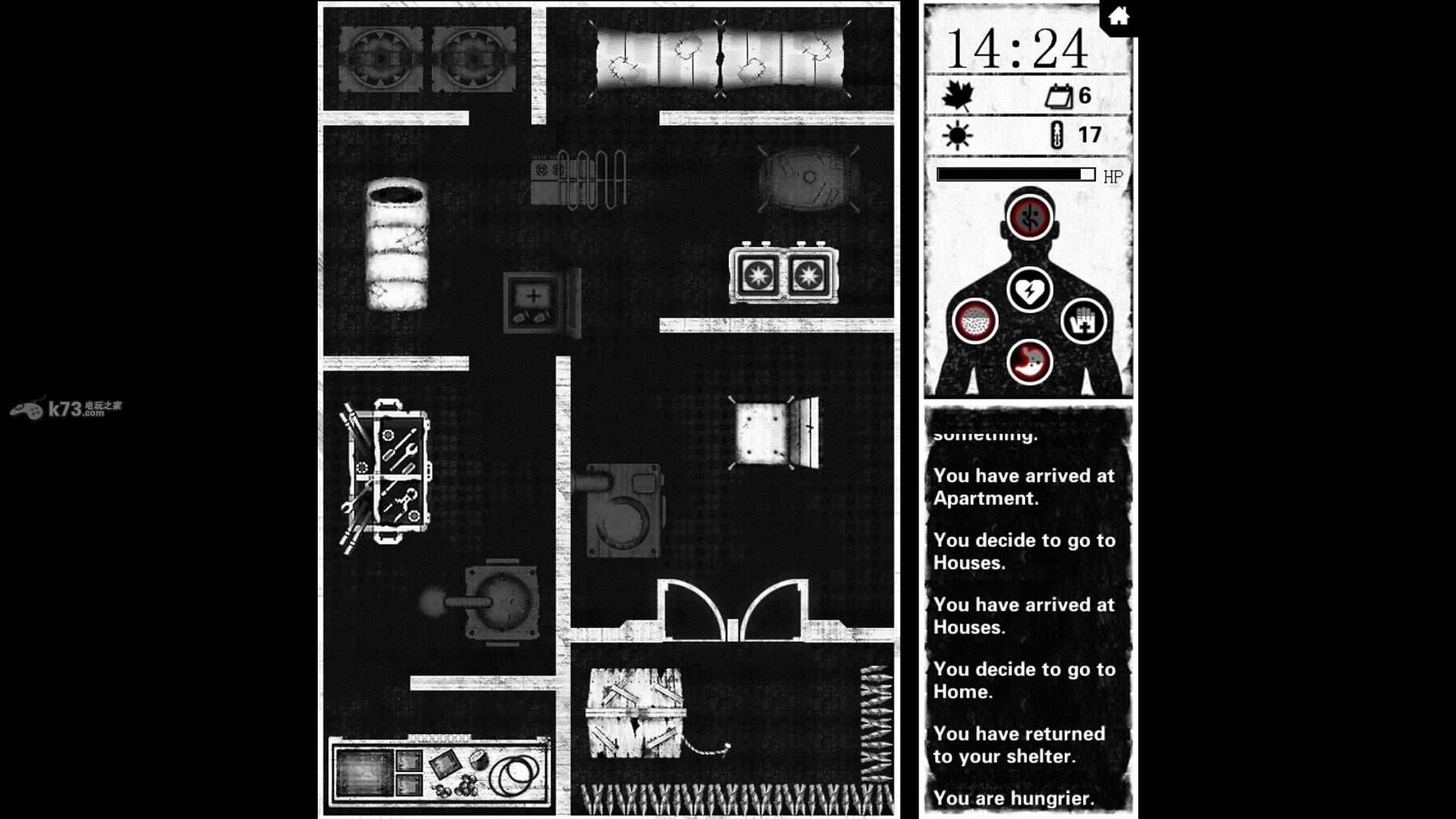 《死亡日记(BuriedTown)》由Dice7打造、LOCOJOY代理发行的生存策略游戏,黑白为主色调的画面+生化僵尸题材给予很强的感官冲击,玩家将伴随着恐怖诡异的音乐进行着躲避僵尸的游戏,喜欢生存逃生类游戏的玩家可以尝试一下,看看你能存活几天呢!