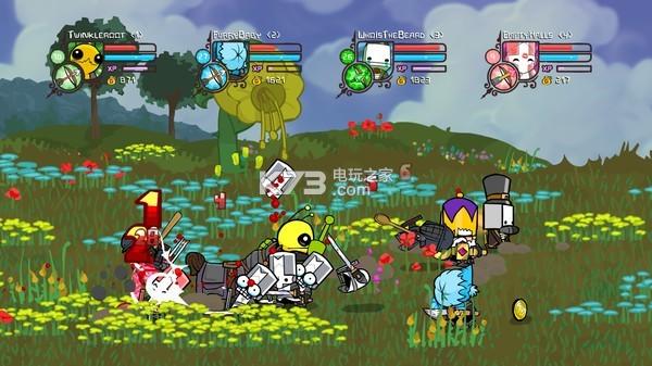 《城堡毁灭者(Castle Crashers)》是由The Behemoth旗下一款手绘卡通画面的横版闯关独立游戏。城堡毁灭者游戏中玩家可以使用多达20+的角色以及几十种可进行改造的武器装备进行战斗,游戏最多支持四名玩家进行联机合作,快喊上你的基友愉快的玩耍吧。